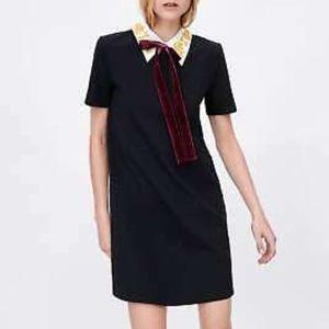 Zara velvet bow dress w/embroidered collar - NWT